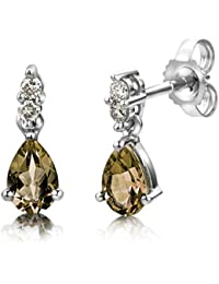Miore Smoky Quartz Earrings, 9ct White Gold, Diamond and Smoky Quartz Drops, 0.08 Carat Diamond Weight, USP007E6W
