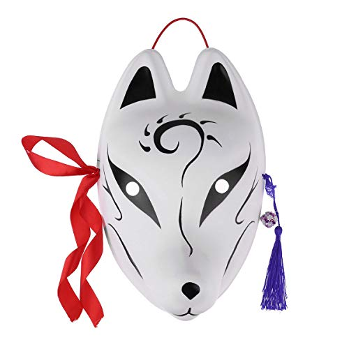 Kostüm Kinder Mango - Tiaobug Unisex Fuchs Maske Japan Stil Gesichtsmaske Weiß Erwachsenen und Kinder Manga Anime Kostüm Zubehör Schwarz B One Size