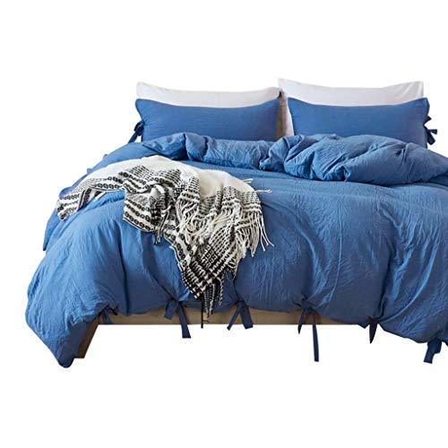 Amazpro Luxuriöse Bettwäsche Bettbezug-Set Komfortable atmungsaktive Hypoallergen, Wrinkle & Fade Resistant Bettlaken Set mit 2 Stück Kissenbezug Royal Blue Queen 229x229cm (Blue Queen Bettwäsche Royal)