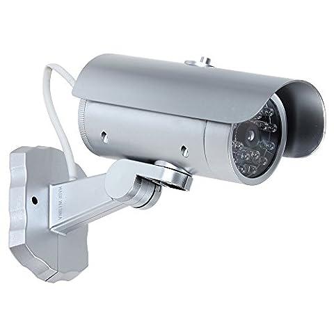 Origlam Fausse caméra de sécurité CCTV Sécurité Caméra de surveillance sans fil avec clignotant Rouge clignotant LED