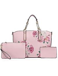 96345b3921719 Miss Lulu Henkeltasche Damen Blumen Handtasche Elegante Schultertasche mit  2 Clutches LG1867F Pu Shopper
