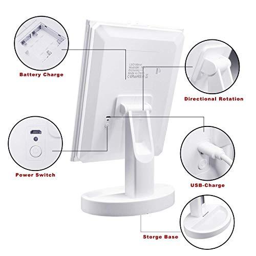 Auxent Kosmetikspiegel mit LED Beleuchtung und Touchscreen aus Kristallglass und ABS Kunststoff, Tischspiegel Schminkenspiegel Beleuchtet mit Blendfreier Bleuchtung für Wohnzimmer, Kosmetikstudio, Spa und Hotel - 4