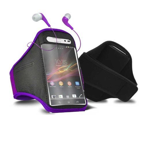 Preisvergleich Produktbild Tech Protect Sony Xperia Z1 Compact Sports Gym Jogging Adjustable Armband Purple Protective Case Cover & 3.5mm Hands Free In Ear Headphones by Tech Protect
