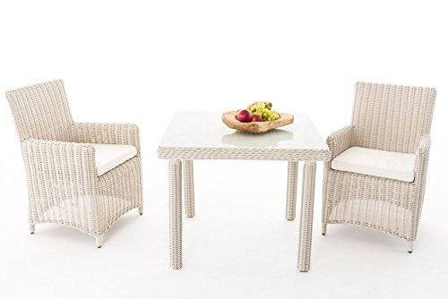 Gartenmöbel, Gartenmöbel-Set, Sitzgruppe Dorado M100, perl-weiß / creme-weiß, Polyrattan-Aluminium-Gestell, Gartengarnitur, Sitzgarnitur.