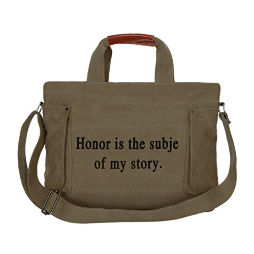 FakeFace Modische Damen Canvas Tasche Schultertasche Schulranzen Umhängetasche Henkeltasche Damentasche Segeltuch Leinen Bag mit Große Kapazität,Armeegrün Braun