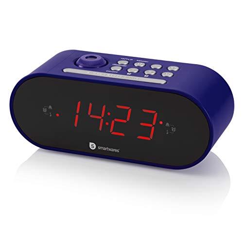 Smartwares CL-1498 - Reloj Despertador con Dos Alarmas, Radio FM, Proyector, Color Negro
