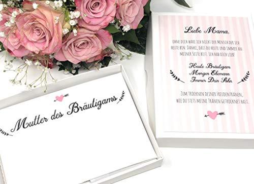 Hochzeit Geschenk Mutter des Bräutigams - Stofftaschentuch für Freudentränen - Geschenk Schwiegermutter (Bräutigam, Geschenk Für Braut)