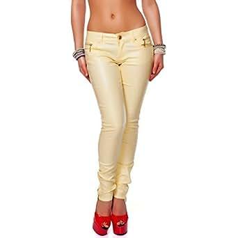 24brands CHICK REBELLE - Damen tiefsitzende Röhren Hose - 2163, Größe:32;Farbe:Gelb