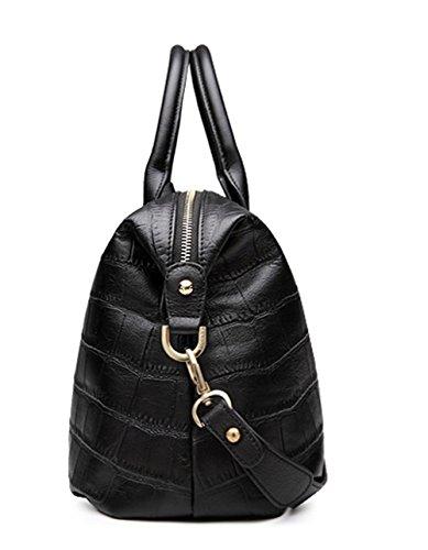 Xinmaoyuan Borse donna estate Lady Borsa Strato di testa di vacchetta coccodrillo gnocchi di modello di borsa grande borsa colore puro ovale borsa a tracolla,rosso Nero