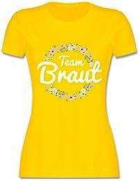 9a409274604f66 JGA Junggesellinnenabschied - Team Braut Blumenkranz - Damen T-Shirt  Rundhals