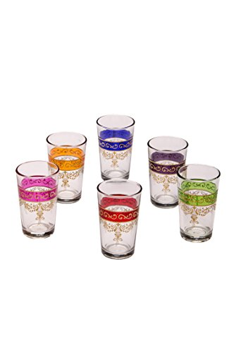 Orientalische verzierte Teegläser Set 6 Gläser Gibril bunt Gold | Marokkanische Tee Gläser 6 Farben Deko orientalisch | 6 x Orientalisches Marokkanisches Teeglas verziert | verschiedene Muster (Gold Tee Gläser)