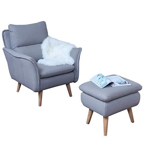 Ohrensessel modern mit Hocker gemütlich Lesesessel Relaxsessel Fernsehsessel Ruhesessel TV-Sessel...