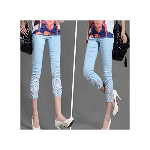 TRFLH& Women Lace Pants Crochet Rhinestone Skinny Stretch Cropped Crochet Lace Diamond Capris Pants Summer Plus Size S-4XL Style 1 Blue XXL -