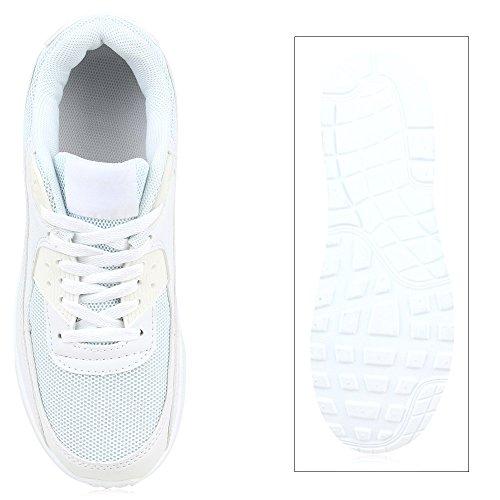 Damen Herren Unisex Sportschuhe Neon Runners Laufschuhe Sneakers Weiß