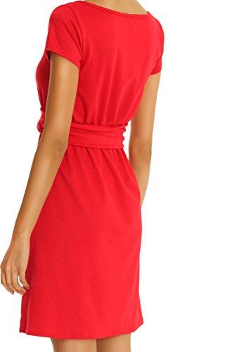Bestyledberlin Damen Kleider A Linie Partykleider Abendkleid, Etuikleid Sommer knielang k23pa Rot