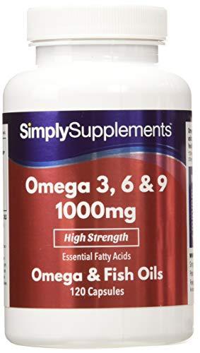 Omega 3-6-9 1000 mg - Per la salute del cuore, del cervello e degli occhi - 240 capsule - 8 mesi di trattamento - Simply Supplements