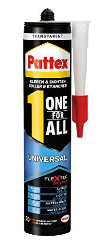 Pattex One for All Universal Kleber/Transparenter, stark haftender Alleskleber ohne Lösungsmittel - vereint Montagekleber und Silikon / 1 x 310g