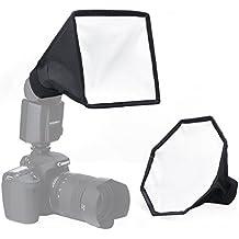 Kit Diffusore Riflettore Softbox Flash, Portable 20cm Octagon Softbox + 20x15cm Softbox Set, diffusore Flash fotocamera per Canon Nikon Sony