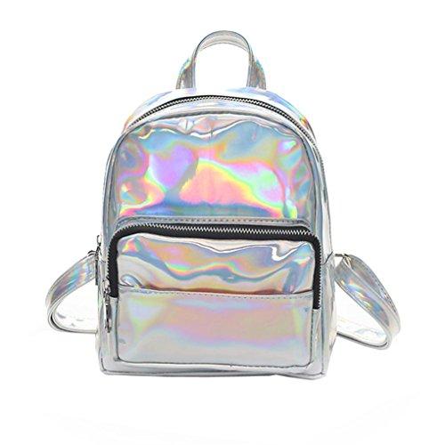 Fashion Lady Laser Sac à bandoulière Rawdah Fille Sac à bandoulière en cuir Laser sac à dos Coin Bag (Argent)
