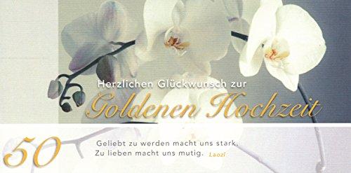 Hochwertige Glückwunschkarte mit Leinenstruktur zur Goldenen Hochzeit 50 Din lang inkl.Umschlag