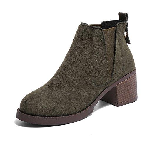 Botines Mujer Botas Chelsea Botas Calientes Botas de Trabajo Chunky Heel Booties Botas de Invierno Zapatos de Invierno Al aire libre Verde,38EU