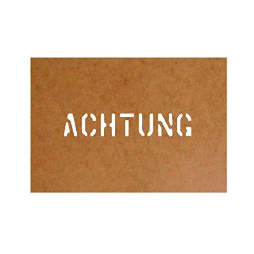 Preisvergleich Produktbild Achtung Schablone Stencil Ölkarton Bundeswehr Militär US Army passend für VW Typ 181 DKW Munga für Lackierung (2,5x14cm) - Ölkarton Lackierschablone #15176