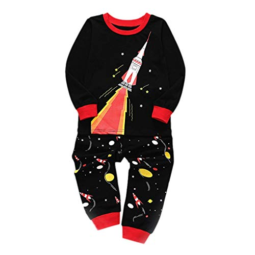 Amphia - Kinder Pyjama Set - Langarm/Rocket Star Moon Print - Tops + Pants Home Wear - Kleinkind Kinder Baby Jungen Mädchen Rocket Pyjamas Nachtwäsche Tops Hosen Outfits Set
