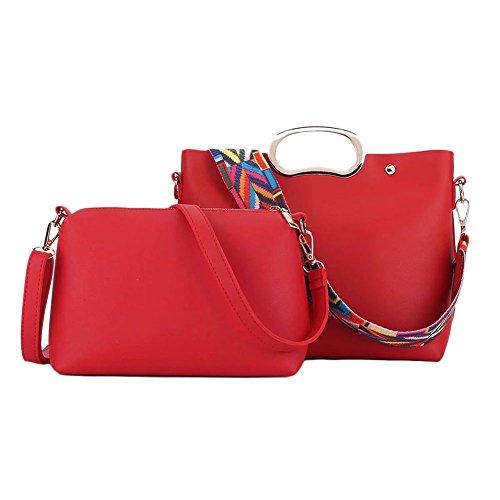 Semplice nastro colorato Limitazione del sacchetto di cuoio della spalla donne 2 pezzi Rosso Rosso