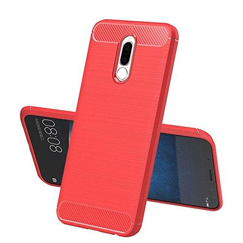 Huawei Mate 10 Lite Hülle, TopACE Flexiblem TPU Silikon Hybrid Schutzhülle Kohlenstoff-fasern Tasche Slim-Fit Case für Huawei Mate 10 Lite (Rot)