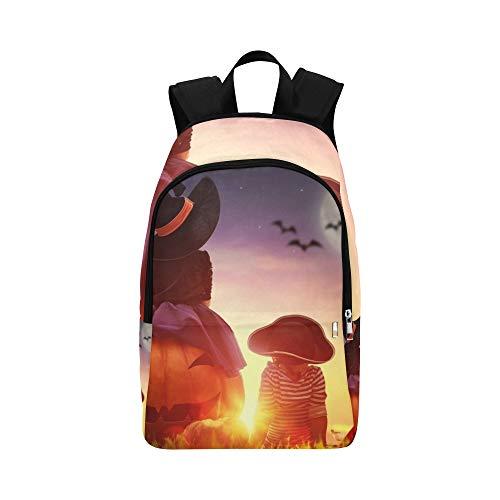 Glücklicher Bruder Zwei Schwestern auf Halloween beiläufiger Daypack Reisetasche College School Rucksack für Männer und Frauen