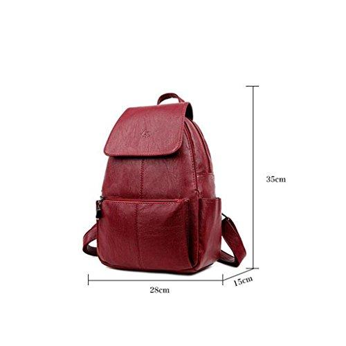 Y&F Frau Freizeitpaket Rucksack Schulranzen Schultertaschen Reisetasche 28 * 15 * 35 cm Red