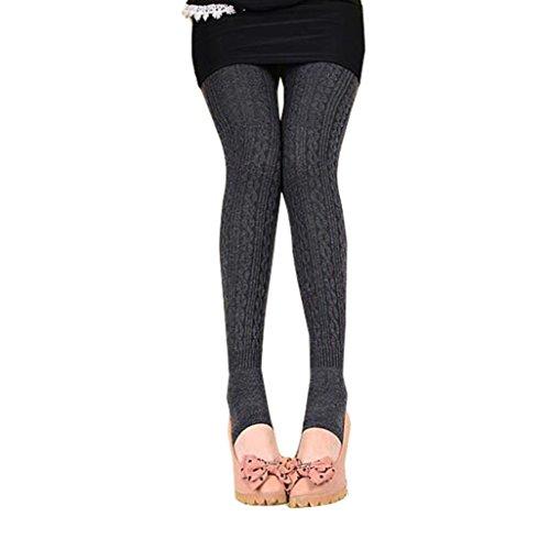 Sannysis Damen Winter Warme Mädchen Bequeme Frauen Baumwolle Strumpfhosen Hosen Leggings Steigbügel Hosen (Dunkelgrau)