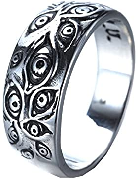 PMTIER Herren Jahrgang Edelstahl Graviert Auge Gottes Ring Silber Ton
