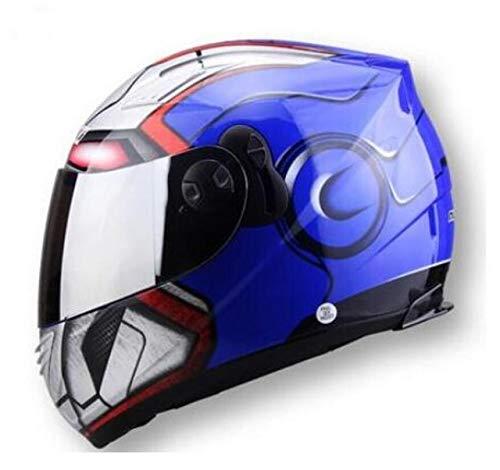 FANHAOWEI Marchio NENKI, Spider-Man Equipaggiamento Protettivo Baby Star Mary Ironman Casco capacete Moto caschi integrali con Due Lenti,A5,S,