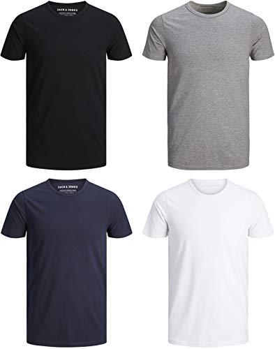 JACK & JONES Herren T-Shirt Basic 4er PACK O-Neck V-Neck Tee S M L XL XXL (M, 4er O-NECK Mix)