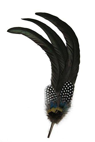Gollwitzer Schmuckfedern Echte Hutfeder vom Hahn, Pfau und Perlhuhn, mit Hülse, für den Trachtenhut