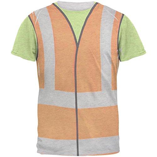 Halloween Straße Arbeiter Bau Weste Kostüm Herren T Shirt Heather weiß MD