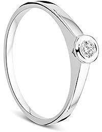 Orovi Ring für Damen Verlobungsring Gold Solitärring Diamantring 9 Karat (375) Brillanten 0.05crt Weißgold mit Diamanten