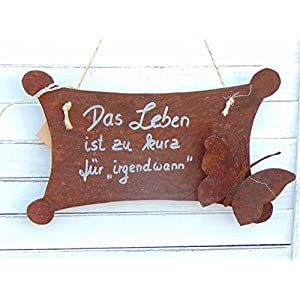 Edelrost Spruchtafel Tafel Schild Gartendeko Schmetterling