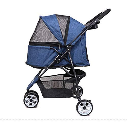 Pet stroller Kinderwagen für kleine Hunde/Katzen, einfach zusammenzufalten, Leichter, mit einem klick zusammenklappbarer 3-Rad-Kinderwagen mit großem Aufbewahrungskorb (Color : Blue)