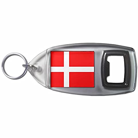 Denmark Flag - Plastic Bottle Opener Key Ring