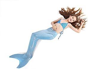 Ocamo Kids Mermaid Tail Swimwear Swimmable Costume Bathing Swimsuit for 6 to 14 Years Old Girls