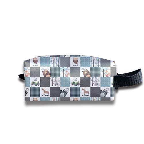 Bear Moose Fox Raccoon Wolf, Grigio U0026 Blu Design portatile da viaggio Trucco cosmetico Borse Organizer Borse multifunzione per unisex
