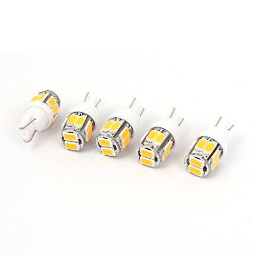 sourcingmap® 5 Pcs T10 W5W 555 280 5630 10-SMD LED pour Tableau de Bord Voiture Blanc Chaud