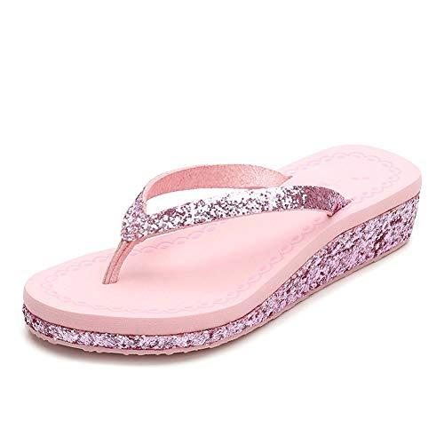 AYHNL Flip-Flops Sommer Keile Schuhe Frau Mittlere Absätze Plattform Kausale Flip Flops Strand Hausschuhe Frau (Mittlere Keile Schuhe Für Frauen)