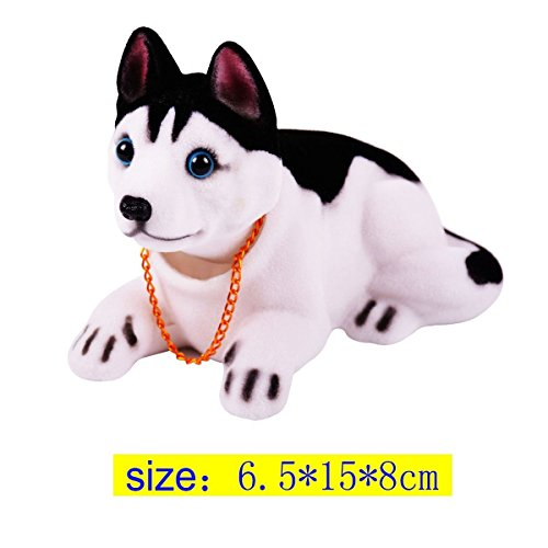 Sopito Perro Decoración Coche Husky Negro Blanco Inclinado con Collar Aromatizado