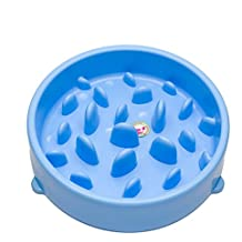 Comedero Perro Anti-Tragando Lento Portátil Plastico Para Mascotas (Azul)