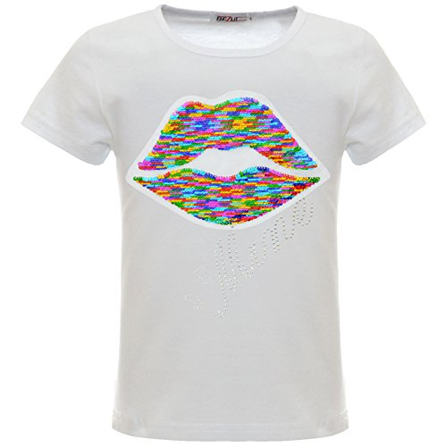 BEZLIT Mädchen Wende-Pailetten Kunst-Perlen Kuss Mund T-Shirt Oberteil 22548, Farbe:Weiß, Größe:164