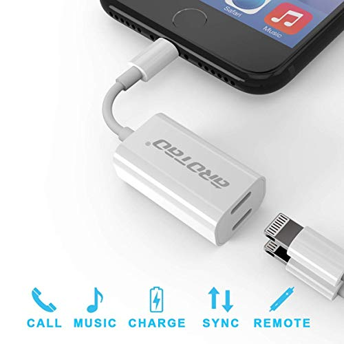 Adattatore & Sdoppiatore Lightning per iPhone 7/7 plus iPhone 8/8 plus iPhone X aROTaO 2 1 Doppio Lightning Cuffia Audio & Carica Adattatore per