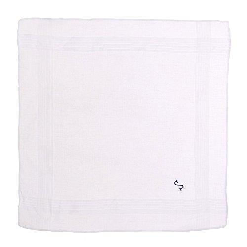 Octave ® blanc pour homme 100%  coton brodé avec initiale pochettes Bleu Blanc - L